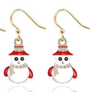 Snow man holiday earrings